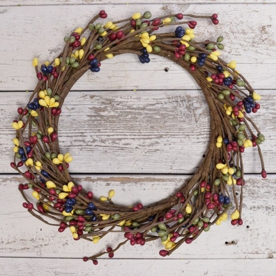 Pip Berry Candle Ring - Country Multicolor Pip Berries - 6 Inch