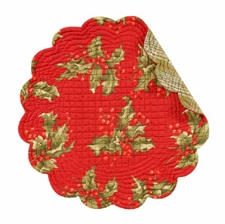"Placemat - ""Holly Holiday Reversible Quilted Placemat"" - 17"" Round"
