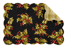 "Placemat - ""Holly On Black Reversible Quilted Placemat"""