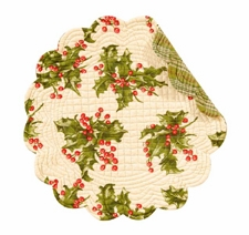 Round Quilted Placemat - Cream Holly - Washable/Reversible - 17in