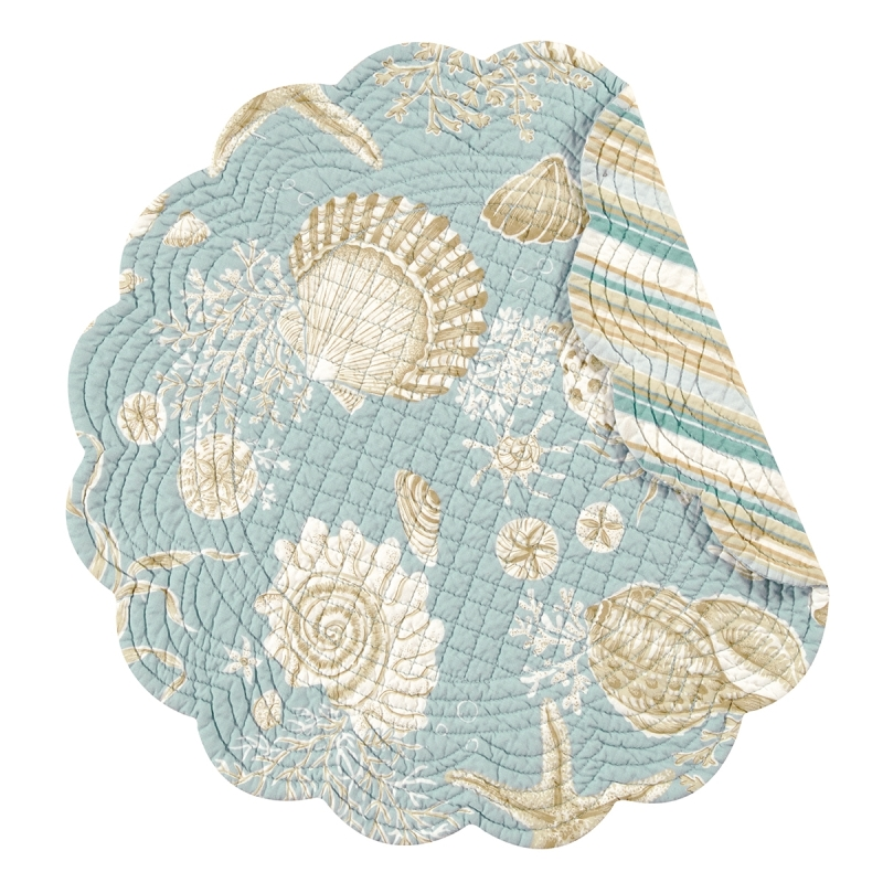Quilted Reversible Placemat - Natural Shell - 17in