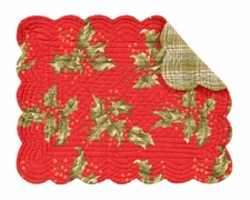 "Placemat - ""Red Holly Holiday Reversible Quilted Placemat"" - 13"" x 19"""
