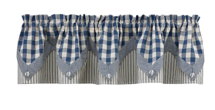 "Poine Valance (Lined) - York Pattern - Blue - 72"" x 15"""