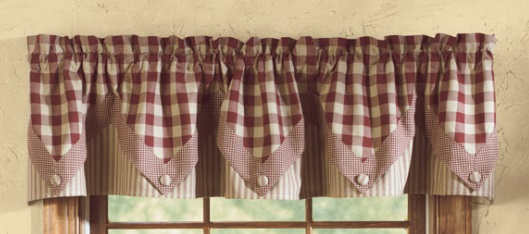 "Point Valance (Lined) - York Pattern - Wine -  72"" x 15"""