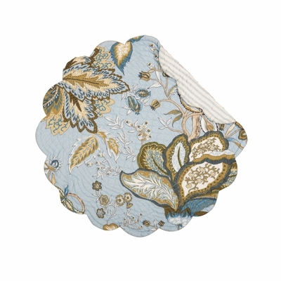 Quilted Reversible Placemat - Bethany Blue - 17in