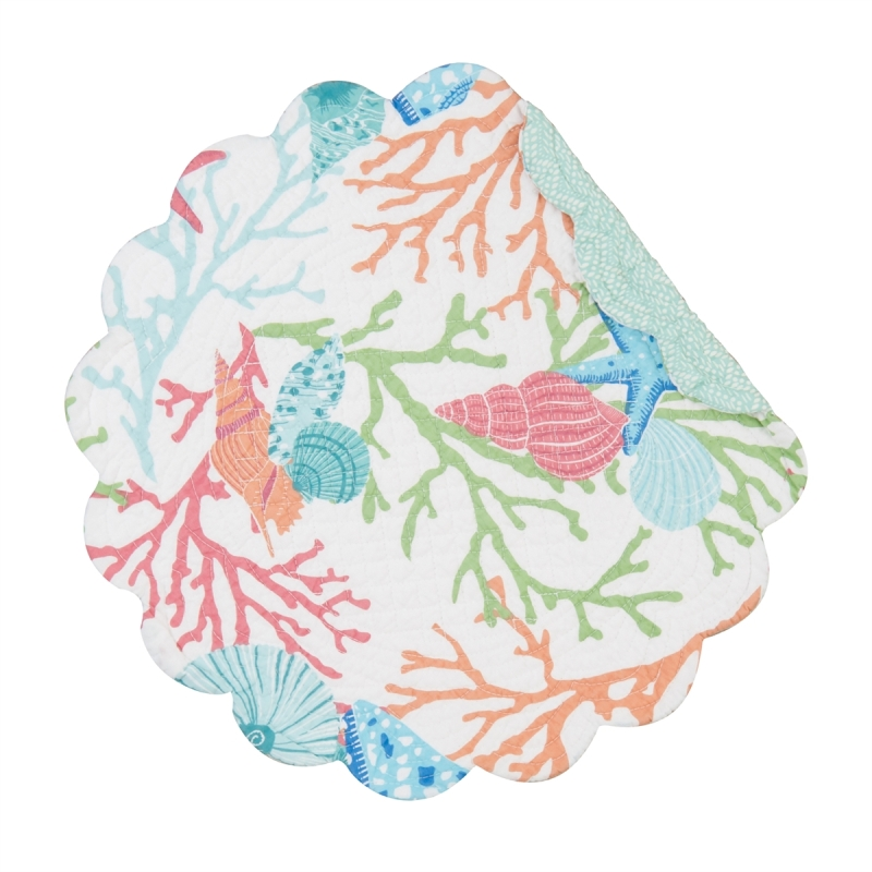 Quilted Reversible Placemat - Caribbean Splash - 17in