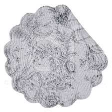 """Quilted, reversible round placemat. <BR>100% Cotton - Machine washable - line dry<BR>Size 17"""""""