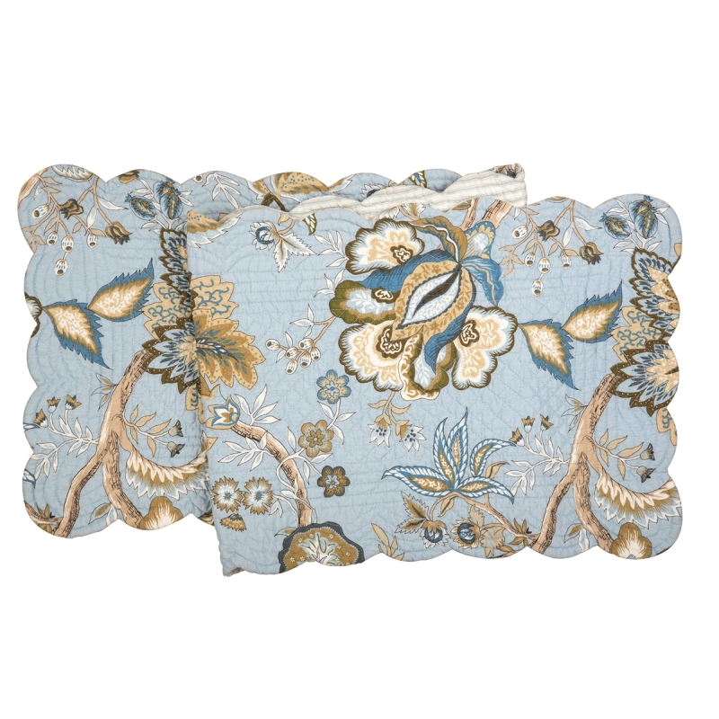 Quilted Reversible Table Runner - Bethany Blue - 51in