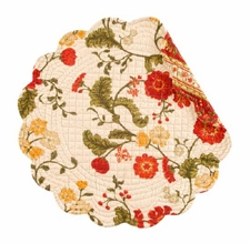 """Quilted Round Placemat - """"Carlisle Red"""""""