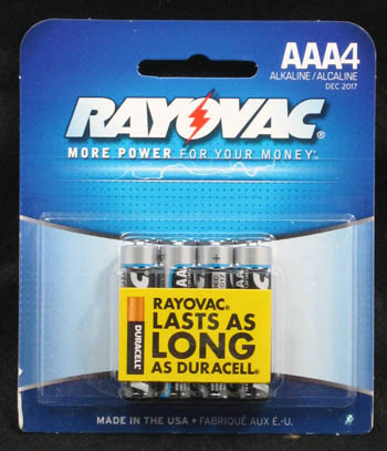 "Rayovac Batteries - ""AAA Alkaline Batteries"" - Pack of 4"