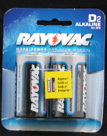 "Rayovac Batteries - ""D Alkaline Batteries"" - Pack of 2"