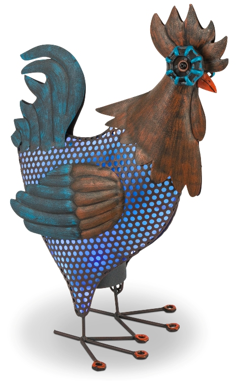 Solar Garden Statue - Blue Rooster Solar Light - 17in