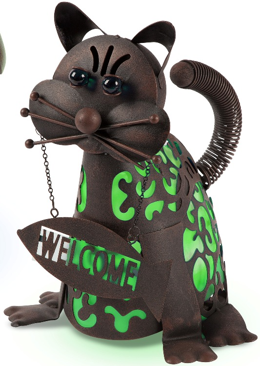 Solar Garden Statue - Cat with Green Welcome Solar Light - 14in