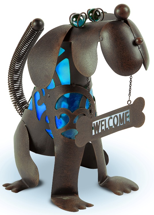 "Solar Garden Statue - ""Dog with Blue Welcome Solar Light"" - 14 Inch"