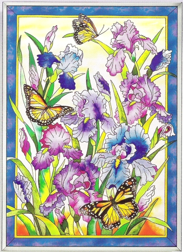 "Suncatcher Panel - ""Iris And Butterfly Panel Suncatcher"""