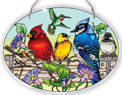 "Suncatcher - ""Rail Birds Oval Suncatcher"""