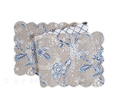 "Table Runner - ""Annebelle Blue Reversible Quilted Table Runner"" - 14"" x 51"""