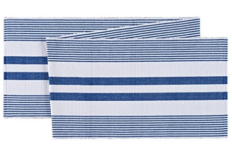 "Table Runner - ""Blue And White Ribbed Table Runner"" - 72"""