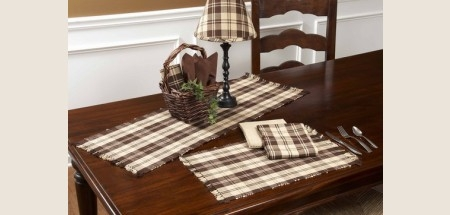 "Table Runner - ""Brown Plaid Table Runner"" - 36"""