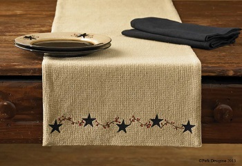 "Table Runner - ""Burlap & Star Vine Runner"" - 36"""