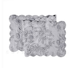 "Table Runner - ""Clementina Cement Reversible Quilted Table Runner"" - 14"" x 51"""