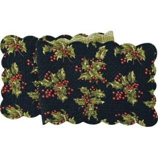 "Table Runner - ""Holly On Black Reversible Quilted Runner"" - 14"" x 51"""