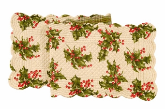 "Table Runner - ""Holly on Cream Reversible Quilted Runner"" - 14"" x 51"""