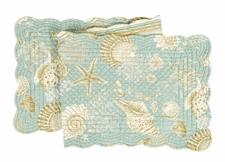 "Table Runner - ""Natural Shell Reversible Quilted Table Runner"" - 14"" x 51"""