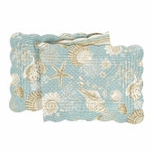 Quilted Reversible Table Runner - Natural Shells - 51in