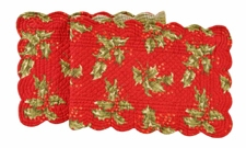 "Table Runner - ""Red Holly Quilted Runner"" - 14"" x 51"""