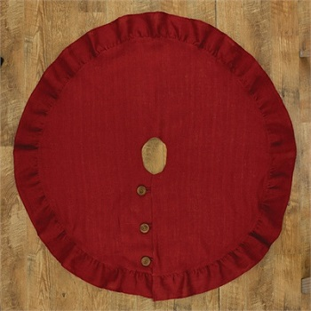 "Tree Skirt - ""Red Burlap Tree Skirt"" - 24"""