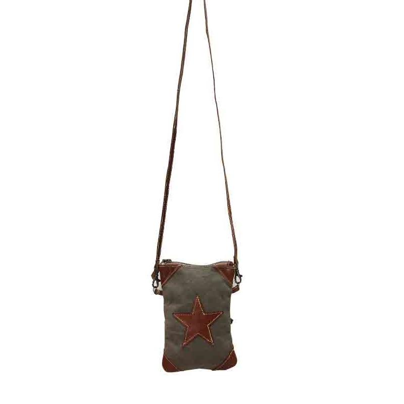 Up-Cycled Canvas Cross Body Bag - Leather Star