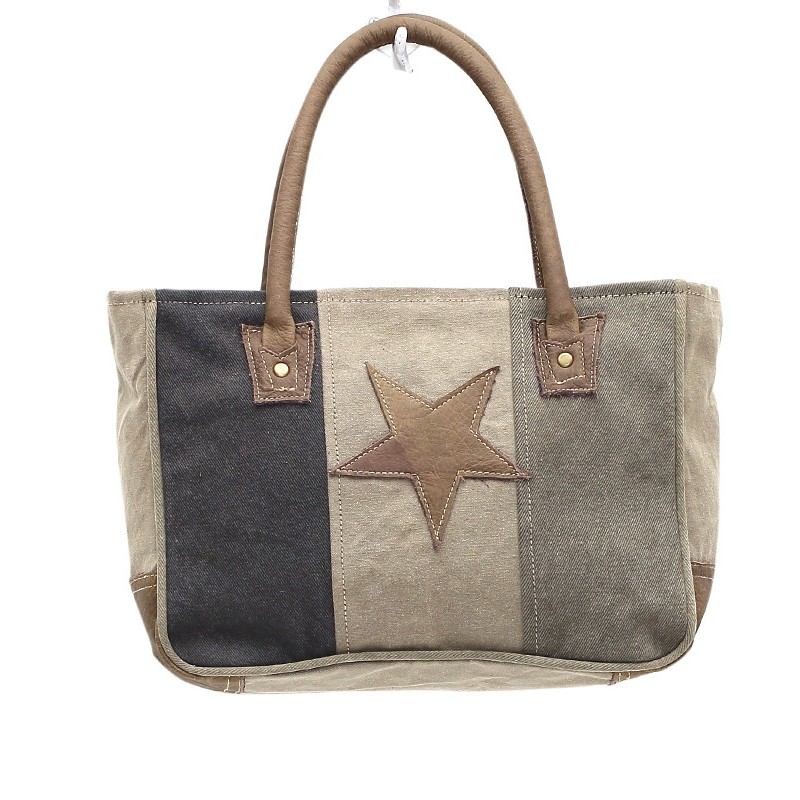 Up-Cycled Canvas Hand Bag - Star on Canvas