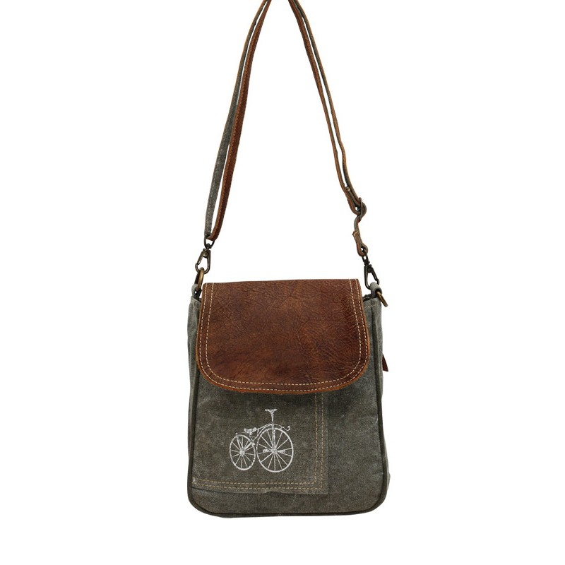 Up-Cycled Canvas Shoulder Bag - Bicycle