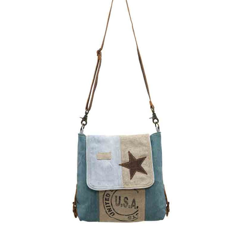 Up-Cycled Canvas Shoulder Bag - Sky Star