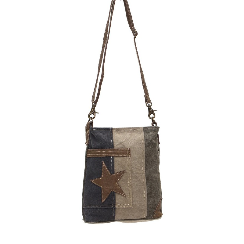 Up-Cycled Canvas Shoulder Bag - Star on Denim