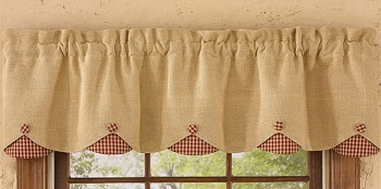 "Valance - ""Burlap And Red Checked Valance"""