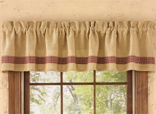 Lined Scallop Valance - Burlap & Red Check - 58in x 15in