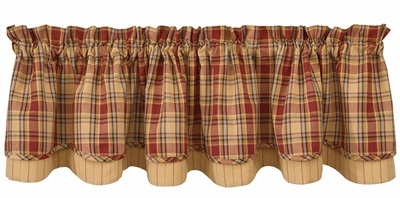 "Valance - ""Redmon Lined Layered Valance"" - 72"" x 16"""
