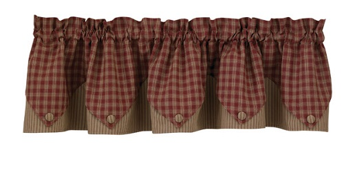 "Valance - ""Sturbridge Lined Point Valance - Wine"""