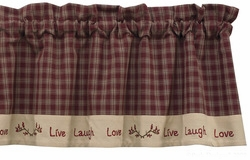 "Valance  - ""Sturbridge Live Laugh Love Lined Valance"" - Wine -  60"" x 14"""