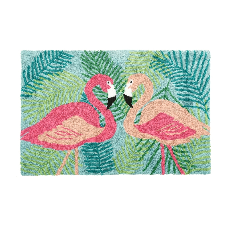 Washable Hooked Rug - 2 Flamingos - 34in