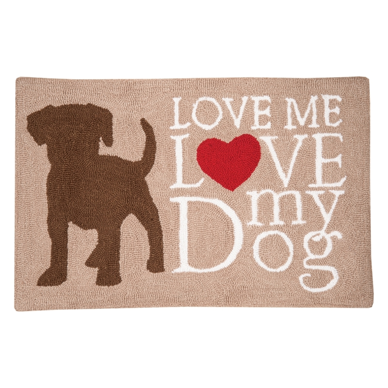 Washable Hooked Rug - Dog Love - 34in