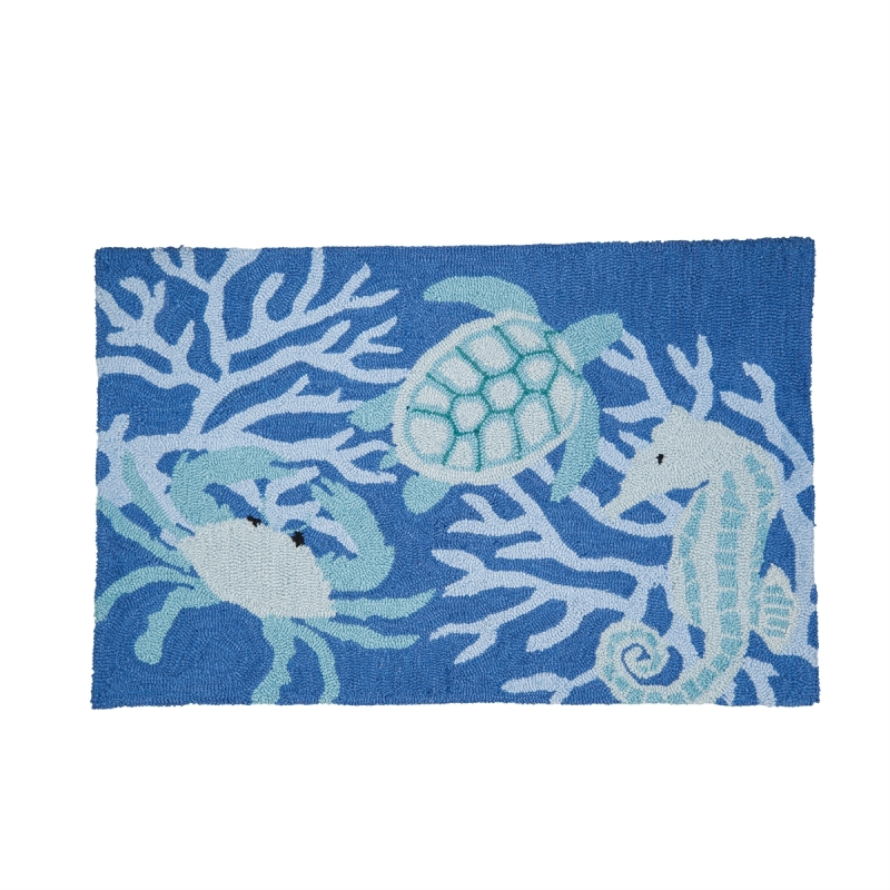 Washable Hooked Rug - Sea Life - 34in