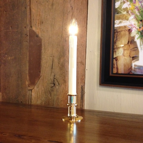 Window Candle - Battery-Operated Dual-Intensity Candle Light - Brass