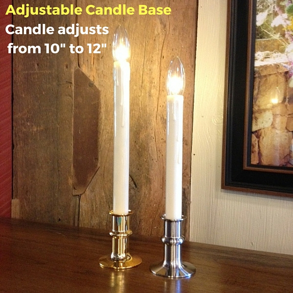 """Window Candle - """"Battery Operated Dual-Intensity Candle Light"""" - Brass Base"""