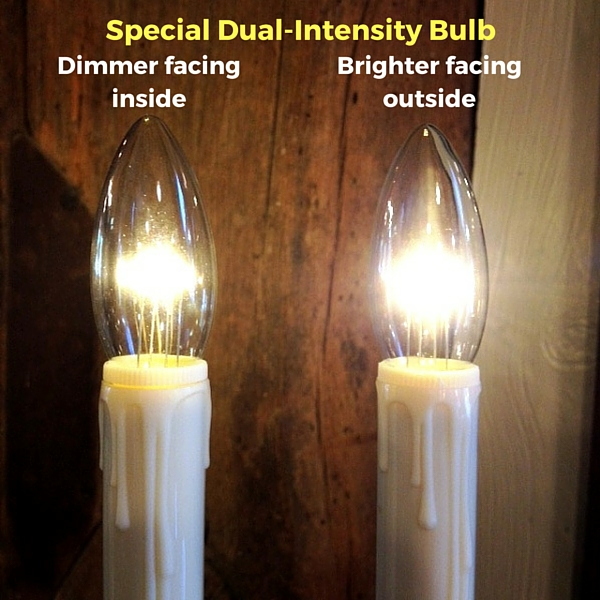 """Window Candle - """"Battery Operated Dual-Intensity Candle Light"""" - Bronze Base"""