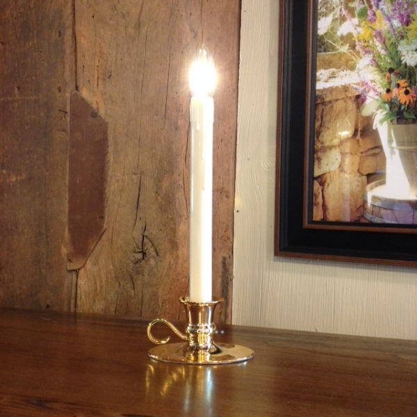 "Window Candle - ""Battery Operated Dual-Intensity Chamberstick Light"" - Brass Oval Base"