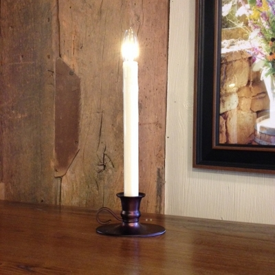 "Window Candle - ""Battery Operated Dual-Intensity Chamberstick Light"" - Bronze Oval Base"