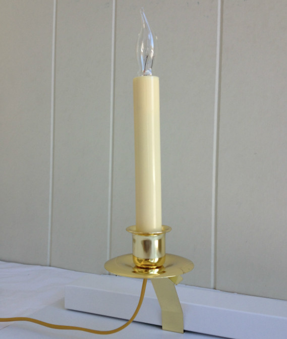 Window Candle - Cambridge Slant Bracket Electric Light - Brass - 6 Hour Timer